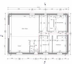 Plan intérieur de la maison - Plein pied et de 100m2