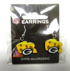 Go Pack Go! Show your support for the pack with these Green Bay Packers Cheese Head Earrings