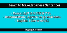 Japanese Sentence Structures