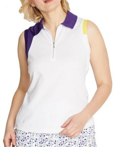 If you're in the market for some new outfits, consider our women's apparel! Shop this comfortable and stylish PULSE (White/Plum/Butter) GGblue Ladies Lisa Sleeveless Golf Polo Shirt from Lori's Golf Shoppe.