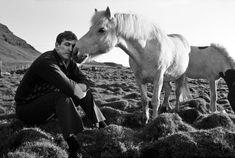 Bobby Fischer with horse in Reykjavik, Iceland, 1972.  Harry Benson