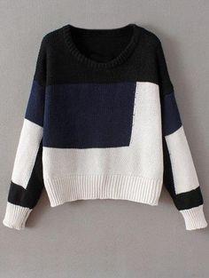De cuello redondo del bloque del color del suéter grueso