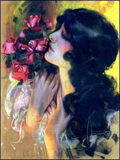 artdeco.quenalbertini: Vintage Deco Lady by Rolf Armstrong, 1920's | DandDDigitalDelights on Etsy