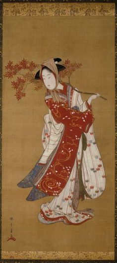 "thejapanesewoodblock: "" Katsukawa Shunshô Japanese, 1726-1792 Dancer with a Maple Branch, Edo period, 1780–1790 Hanging scroll; Ink, color, and gold pigment on silk """