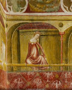 "GOTHIC MURAL 14TH CENTURY   A fashionable lady looks down from a balcony hung with rugs showing the Tyrolean eagle. Murals in the so-called ""bath-chamber"" in Runkelstein castle show scenes of medieval courtlife and courtly love.   Runkelstein castle, Bolzano(Bozen), Italy"