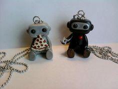Super cute robot necklaces