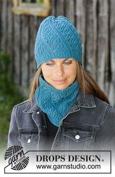 Winter twist / DROPS - free knitting patterns by DROPS design Free knitting instructions Lace Knitting, Knitting Patterns Free, Crochet Beanie Pattern, Crochet Hats, Knit Hats, Magazine Drops, Drops Design, Knitted Headband, Knit Fashion
