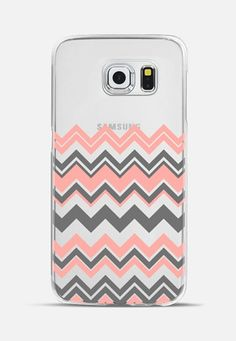 Coral Gray Chevron Transparent Galaxy S6 Edge Case by Organic Saturation | Casetify