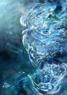 """Inspiration for characters and scenes in The Elemental Wars. Original caption: Elements Water: """" Elemental,"""" by javi-ure, at deviantART. Elemental War, Magia Elemental, Elemental Powers, What Element Are You, Corps Astral, Water Aesthetic, Book Aesthetic, Water Fairy, Water Nymphs"""