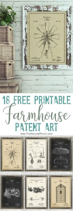Farmhouse Patent Art and Surprise Bonus Printables | 18 free printable high-resolution Farmhouse Patent Wall Art| 12 free printable Vintage Olive Branch Illustrations| Free printable phonetic alphabet wall art | Free printable Morse code alphabet wall art | Budget friendly farmhouse decor | Engineering print vs poster print | Free printable man cave wall art | Free printable oversize wall art | Easy DIY wall decoration | Free printable botanical prints | TheNavagePatch.com