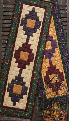 """Flower Patch Runner Pattern This stylish table runner is super fast and easy, done with the great """"Quilt as you go"""" method. It measures x and is actually so fast to piece that it can be done in an evening. Patchwork Table Runner, Table Runner And Placemats, Table Runner Pattern, Quilted Table Runners, Southwestern Table Runners, Southwest Quilts, Quilted Table Toppers, Bed Runner, Flower Patch"""