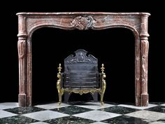 Antique French Rouge Marble Rococo Fireplace Mantel