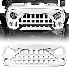 Amazon.com: IBACP Newest Front Grille Warrior Style Grid Grill Front Angry Face Grille Bumper Guard Parts fits 2007-2018 Jeep Wrangler JK & JKU Rubicon Sahara Sport 2/4 Door Exterior Accessories, Glossy White: Automotive 4 Door Jeep Wrangler, Jeep Rubicon, Wrangler Jk, Jeep Wrangler Unlimited, Jeep Wrangler Accessories, Jeep Accessories, Jeep Sahara, White Jeep, Jeep Parts