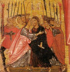 Maestro della Croce n. 434 e Bonaventura Berlinghieri  - Crocifisso di Tereglio (dettaglio: Cattura di Cristo) - 1240 ca. - Chiesa di santa Maria Assunta - Tereglio (Lucca)