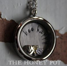 """Gorgeous stainless steel floating locket featuring a back plate stamped with """"bee happy"""". Includes 2 floating charms, a smiley face and a bee. Floating Lockets, Floating Charms, Back Plate, Bee Happy, Smiley, Kiwi, Awesome, Amazing, Online Shopping"""