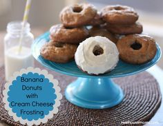 Banana Donuts with Cream Cheese Frosting are the perfect breakfast with a cup of coffee!