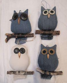 Blue Great Horned Owl Re-purposed Denim Owl Button Eyed Owl Jean Crafts, Denim Crafts, Christmas Bazaar Crafts, Sewing Crafts, Sewing Projects, Owl Bags, Halloween Owl, Felt Owls, Owl Ornament