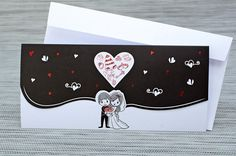 Invitatie de nunta amuzanta in alb si negru cu miri si inimioare metalizate | Invitatii de nunta - Haioase