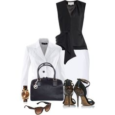 Office outfit: White - Black - Tortoiseshell by downtownblues on Polyvore featuring Maison Margiela