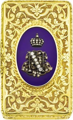French Imperial Napoleon lll diamond and gold presentation box 1867. The French emperor and empress Eugenie forged a friendship of France with Queen Victoria and Great Britain that remains to this day.