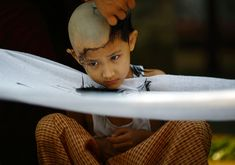 A boy gets his head shaved by a Buddhist monk after being sent by his family to live the life of a monk for seven days as part of a ritual in Yangon on March 4, 2012. Boys between the ages of seven and 18 in Myanmar are traditionally sent by their family to experience the life of a monk for a short span of time. (Staff/Reuters) #