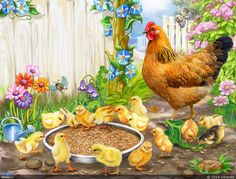 Chickens near feeders Fall Canvas Painting, Art Painting Gallery, Chicken Painting, Chicken Art, Old Illustrations, Animal Poems, Rooster Painting, Rooster Art, Chicken Pictures