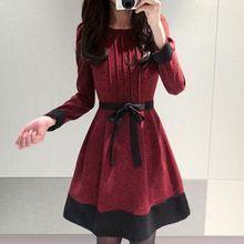 a851c3c41756 Oaksa - Bow Pintuck Long-Sleeve A-Line Dress Vestido Social, Cute Outfits