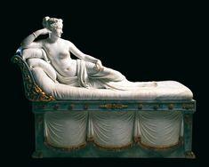 Paolina Borghese Bonaparte come Venere Vincitrice (1804-1808). Lunghezza 200 cm. Galleria Borghese, Roma