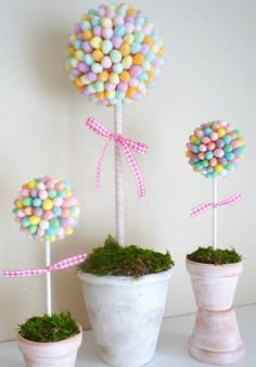 Click Pic for 25 DIY Easter Decorations for the Home - Jelly Bean Topiary - Easter Table Decorations