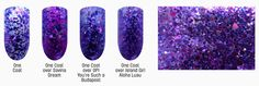 Amethyst Devotion (February) - swatches over various colors and a macro shot