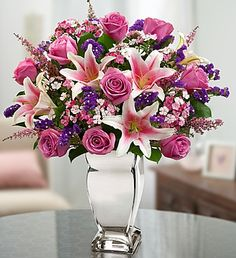 Reflections of Love™ -mothers day beautiful bouquet! Lavender roses, Stargazer lilies, dianthus.