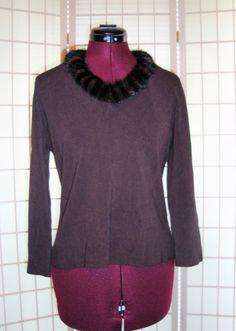 Beautiful Michelle Nicole Sz L Brown Knit Top W/ Black & Brown Mink Collar #MichelleNicole #KnitTop