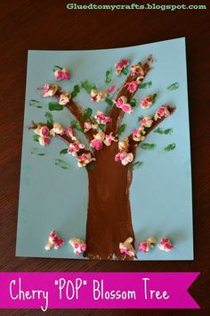 Cherry POP Blossoms Artwork Kid Craft Glued to my Crafts: Jump Into Spring- Cherry POP Blossoms Artwork The post Cherry POP Blossoms Artwork Kid Craft appeared first on Toddlers Diy. Preschool Crafts, Diy And Crafts, Crafts For Kids, Arts And Crafts, Spring Tree, Blossom Trees, Cherry Blossom, Crafty Kids, Glue Crafts