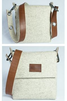 Mens felt satchel bag handmade from 3 mm designer wool felt, which is assembled using pop rivets. The strap is made from 100% vegetable tanned full-grain leather which is backed with wool felt and fastens onto the bag with carabiners.  The front flap fastens with a magnetic snap and there are internal pockets for your phone and wallet.  I make the straps for these bags on a daily basis so if you are worried about the length of the strap please message me and i can make it to length at no…