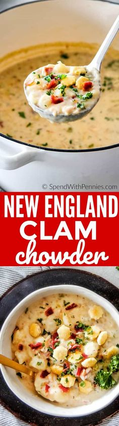 Award winning New England Clam Chowder! It's loaded with tender clams, creamy potatoes and salty, smoky bacon in a rich flavor bursting broth!