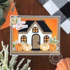 Fall Cards, Holiday Cards, Sunnies Studios, Happy October, Autumn Scenes, Thanksgiving Cards, Quatrefoil, Gingerbread Man, Fall Pumpkins