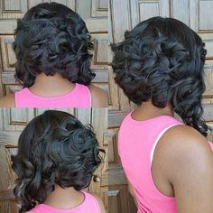 black curly inverted bob