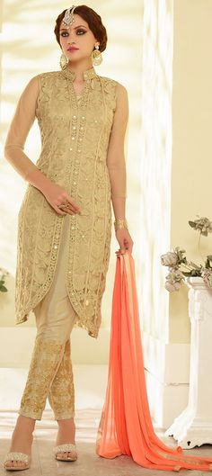 442459: Beige and Brown color family stitched Party Wear Salwar Kameez .