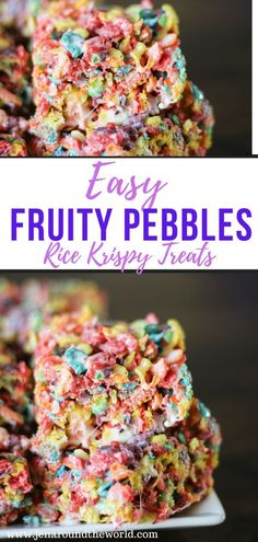 Easy Fruity Pebbles Rice Krispy Treats This is the perfect recipe to get your kids cooking in the kitchen. This Fruity Pebbles Rice Krispy Treat is sweet and only takes minutes to prepare. Rice Krispy Treats Recipe, Rice Crispy Treats, Krispie Treats, Brunch, Rice Krispies, Rice Recipes For Dinner, Baking With Kids, Easy, Perfect Food