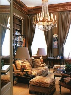 all the king's houses & all the king's men  Just plain elegant traditional brown. White ceiling. Matched lampshades. a little animal skin for updateing.