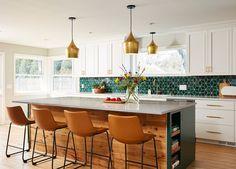 Handmade Ceramic Kitchen Tile Projects by Mercury Mosaics Modern Kitchen Tiles, Mid Century Modern Kitchen, Modern Kitchen Design, Kitchen Backsplash, Mid Century Kitchens, Green Kitchen Designs, Mid Century Rustic, Home Decor Kitchen, Kitchen Interior