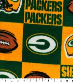 Green Bay Packers NFL Block Fleece Fabricby Fabric Traditions