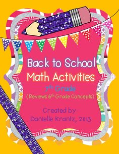 7th Grade Math Back to School Activities!