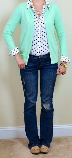 Outfit Posts: outfit post: mint cardigan, polka dot blouse, bootcut jeans