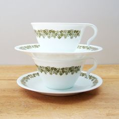 Cups and Saucers, Corelle Green Spring Blossom Cups and Saucers, 1970s Corelle Corning Flower Teacup Coffee Cup,  Housewarming Gift