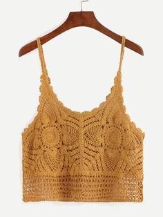 Shop Hollow Out Crochet Cami Top - Yellow online. SheIn offers Hollow Out Crochet Cami Top - Yellow & more to fit your fashionable Crochet Cami Tops, Crochet Top Outfit, Crochet Blouse, Crochet Clothes, Crochet Bikini, Crochet Tank, Débardeurs Au Crochet, Gilet Crochet, Crochet Woman