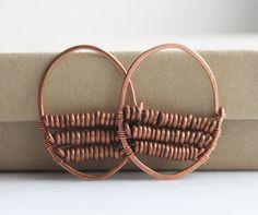 Beaded Hoop Earrings, Wire Wrapped Jewelry, Handmade Earrings, Copper Earrings, Bohemian Jewelry, African Earrings via Etsy