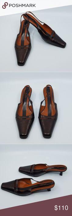 c7682c1e2fe1 BCBG Maxazria Sling Back Kitten Heel - Classic BCBG Maxazria Brown Croc  Sling Back Kitten Heel. Size Previously worn