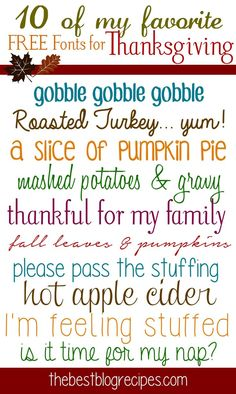 10 FREE Fonts for Thanksgiving from The Best Blog Recipes #fonts #thanksgiving