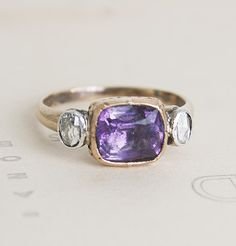 Amethyst and Rose-Cut Diamond Late Georgian Ring, from at least the Middle Ages.